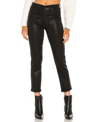 7 For All Mankind High Waist Crop Straight Coated - Black