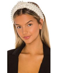 Lele Sadoughi Velvet Pearl Knot Headband - White