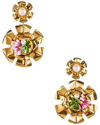 Mercedes Salazar Flower Pearl イヤリング - メタリック