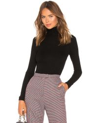 Enza Costa - Rib Fitted Turtleneck Top In Black - Lyst