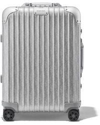 DIOR and RIMOWA Cabin Aluminium Suitcase In Silver Dior Oblique Print - 55x40x23 - Metallic