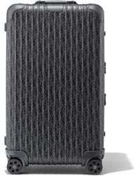 DIOR and RIMOWA Trunk Aluminium Suitcase In Black Dior Oblique Print - 73x44x36.5