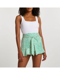 River Island Green Soft Frill Shorts