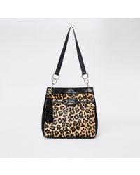 River Island Beige Leopard Snaffle Slouch Bag - Natural