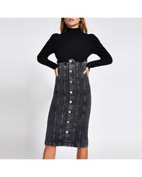 River Island High Corset Waisted Denim Skirt - Black