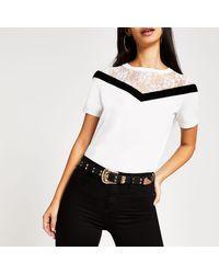 River Island White Chevron Lace Short Sleeve T-shirt