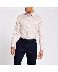 River Island Pink Slim Fit Egyptian Cotton Shirt