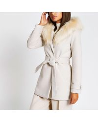 River Island Beige Belted Faux Fur Hooded Robe Coat - Natural