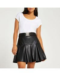 River Island Petite Black Faux Leather Pleated Mini Skirt