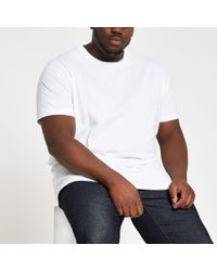 River Island - Big And Tall White Slim Fit T-shirt - Lyst