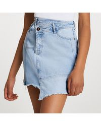 River Island Asymmetric Waist Denim Raw Hem Mini Skirt - Blue
