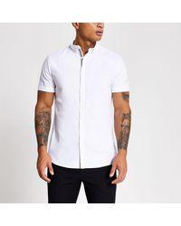 River Island Maison Riviera White Slim Short Sleeve Shirt