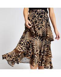 River Island Petite Brown Animal Print Frill Midi Skirt