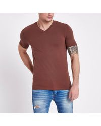 River Island - Brown Muscle Fit V Neck T-shirt - Lyst