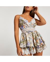 River Island Cream Paisely Print Lace Beach Playsuit - Natural