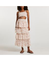 River Island Pink Shirred Floral Tiered Maxi Skirt