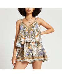River Island Layered Plunge Beach Playsuit - Natural
