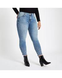 River Island - Plus Light Blue Amelie Studded Hem Jeans - Lyst