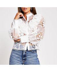 River Island White Long Sleeve Lace Shirt