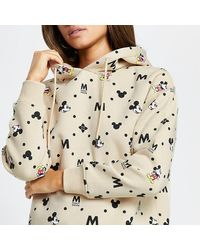 River Island Beige Mickey Mouse Long Sleeve Hoodie - Natural
