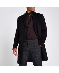 River Island - Black Button Up Overcoat - Lyst