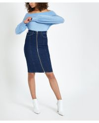 78ff441633 River Island - Dark Blue Zip Through Denim Pencil Skirt - Lyst