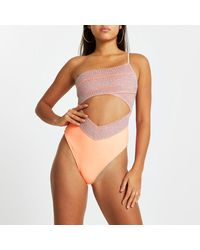 River Island Coral One Shouldered Wrap Swimsuit - Orange
