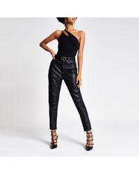 River Island One Sleeve Asymmetric Split Bodysuit - Black