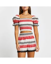 River Island Red Puff Sleeve Shirred Crop Top