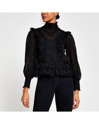 River Island Black Long Sleeve Lace Frill Blouse Top