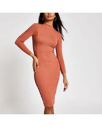 River Island Long Sleeve Ruched Bodycon Dress - Orange