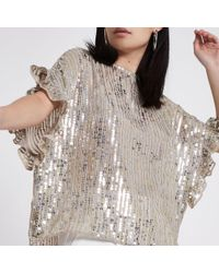 River Island - Gold Sequin Embellished Frill Sleeve Top - Lyst