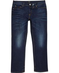 River Island - Big And Tall Blue Dean Straight Leg Jeans - Lyst