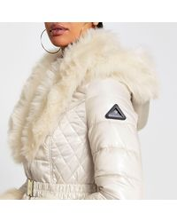 River Island Cream Faux Fur Hem Fitted Padded Coat - Natural