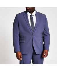 River Island Big And Tall Blue Skinny Fit Suit Jacket