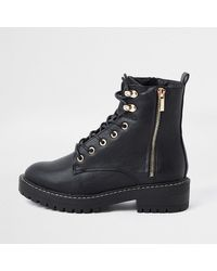 River Island Black Faux Leather Lace Up Chunky Boots