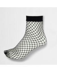 River Island - Black Wide Fishnet Ankle Socks - Lyst