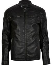 River Island Big & Tall Black Faux Leather Racer Jacket