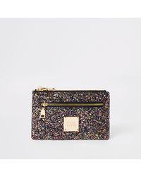 River Island Glitter Mini Zip Pouch - Purple
