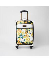River Island White Fruit Flower Print Four Wheel Suitcase