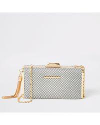 River Island Silver Diamante Embellish Box Clutch Handbag - Metallic