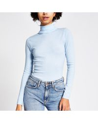 River Island Long Sleeve Roll Neck Knitted Top - Blue