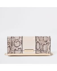 River Island - Snake Print Panel Chain Clutch Bag - Lyst