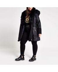 River Island Plus Black Long Sleeve Faux Fur Parka Coat
