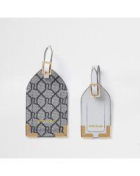 River Island Gray Ri Monogram Luggage Tags