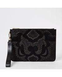 River Island Leather Studded Western Clutch Bag - Black