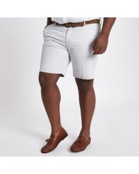 River Island Big And Tall Stone Belted Chino Shorts - Natural