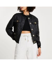 River Island - Black Faux Leather Quilted Bomber Jacket - Lyst