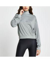 River Island Green Rvr 'new York City' Crop Sweatshirt