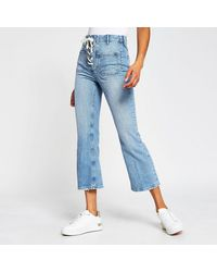 River Island Light Blue Cropped Flare High Rise Jeans